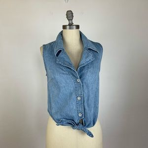 Anthropologie Pilcro Denim Tie Vest